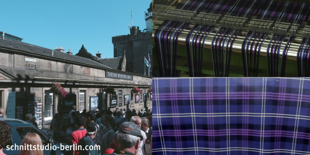 Tartan Weaving Mill in Edinburgh, Webstuhl und Tartan